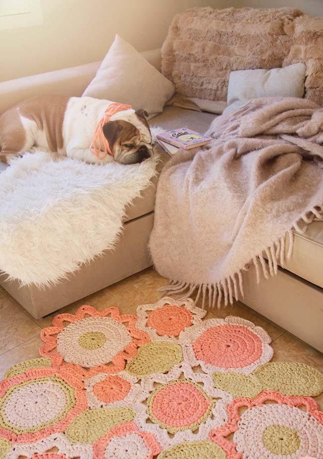tapete de crochê redondo para sala