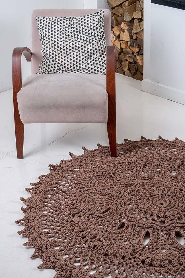 Tapete de crochê redondo para sala de estar