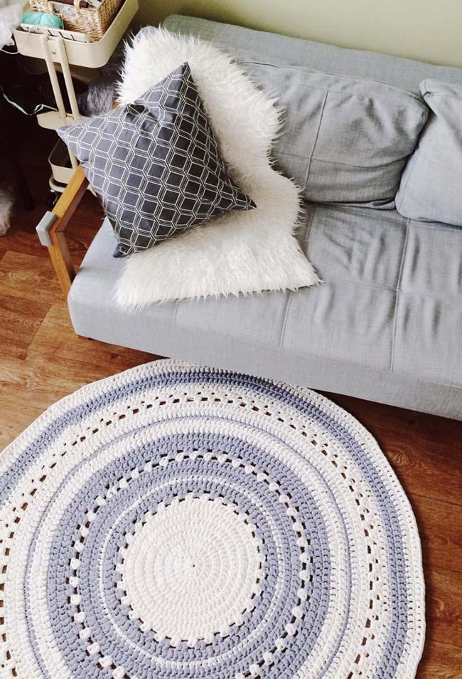 Tapete de crochê redondo para sala feito com gráfico