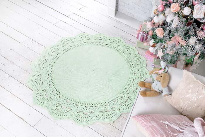 Tapete de crochê redondo com verde água suave
