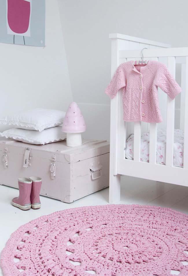 Tapete de crochê redondo simples para quarto infantil