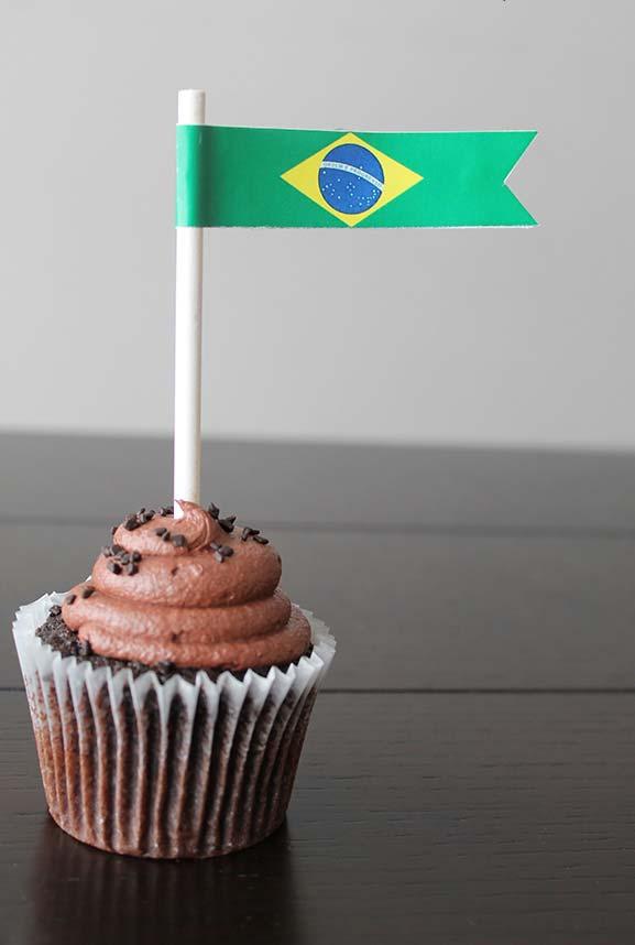 Cupcake decorado para Copa do Mundo