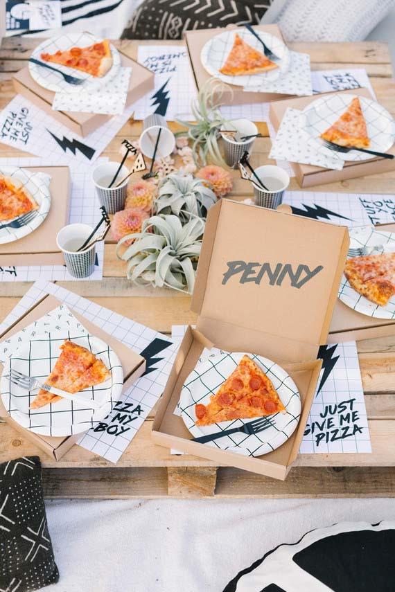 Pizza para festa de aniversário simples