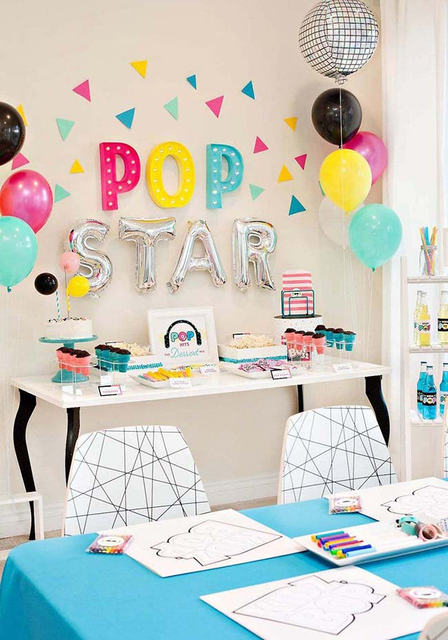 Tema pop star para festa simples infantil