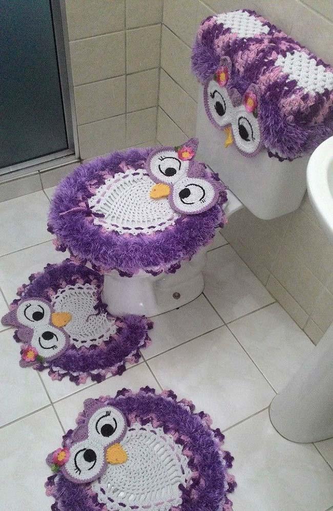 Jogo de banheiro coruja: 4 peças em 1 conjunto
