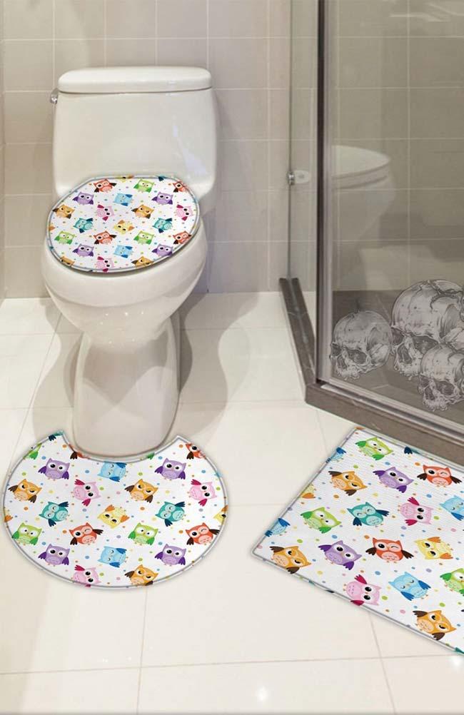 Jogo de banheiro com corujinhas coloridas