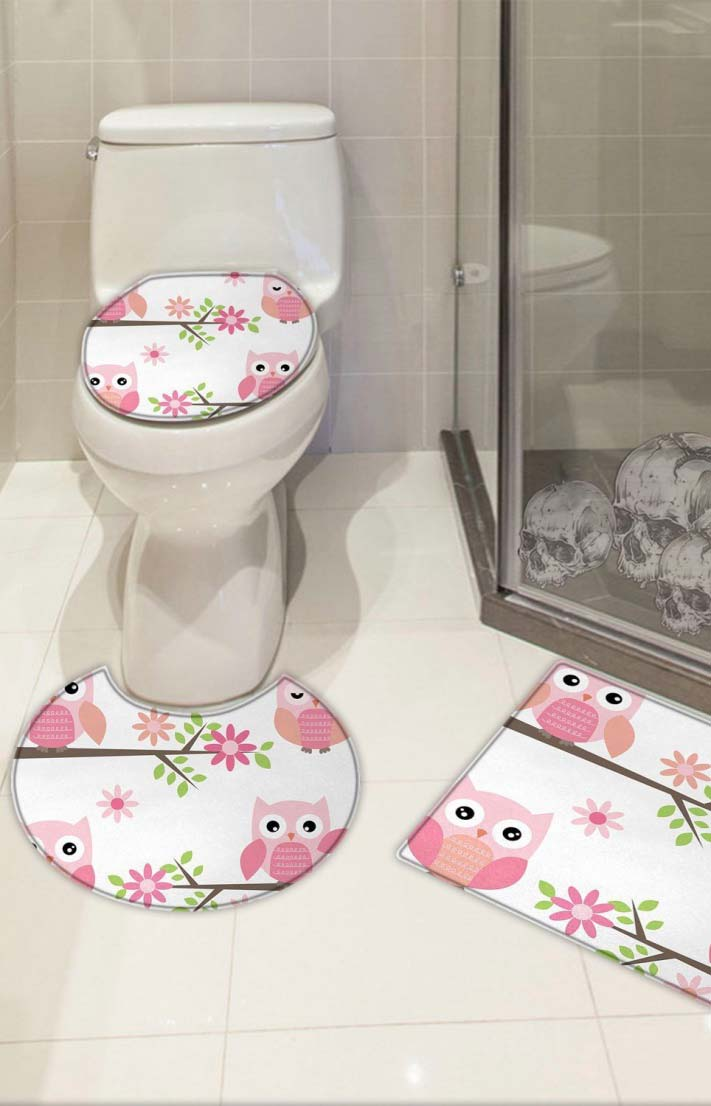 Jogo de banheiro emborrachado com corujas cor de rosa