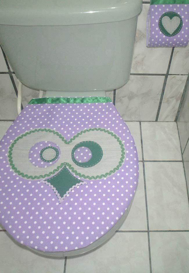 Jogo de banheiro coruja: sianinha, cetim e patchwork