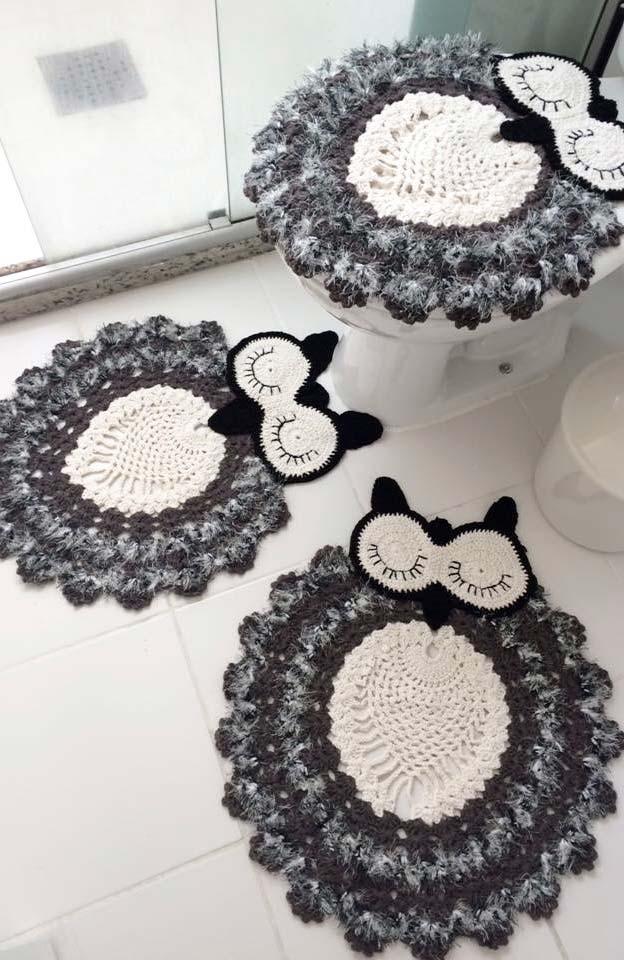 Jogo de banheiro de corujas dorminhocas preto e branco