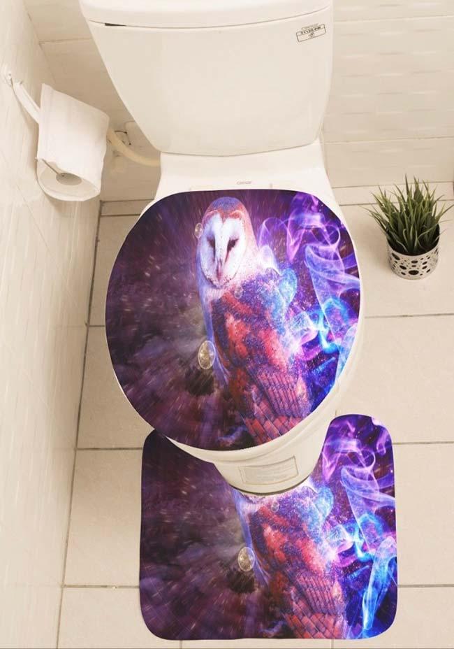 Jogo de banheiro de coruja com cores vivas