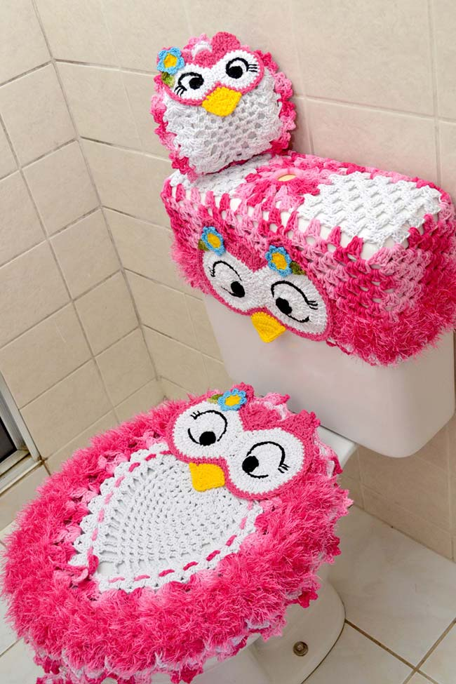 Jogo de banheiro coruja rosa