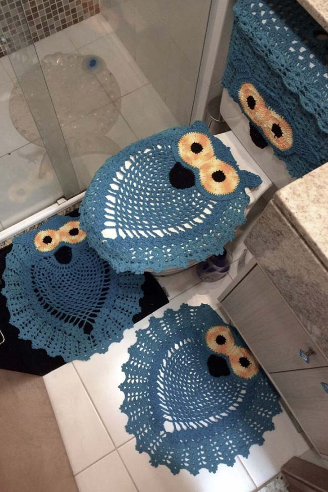 Tudo azul nesse jogo de banheiro coruja