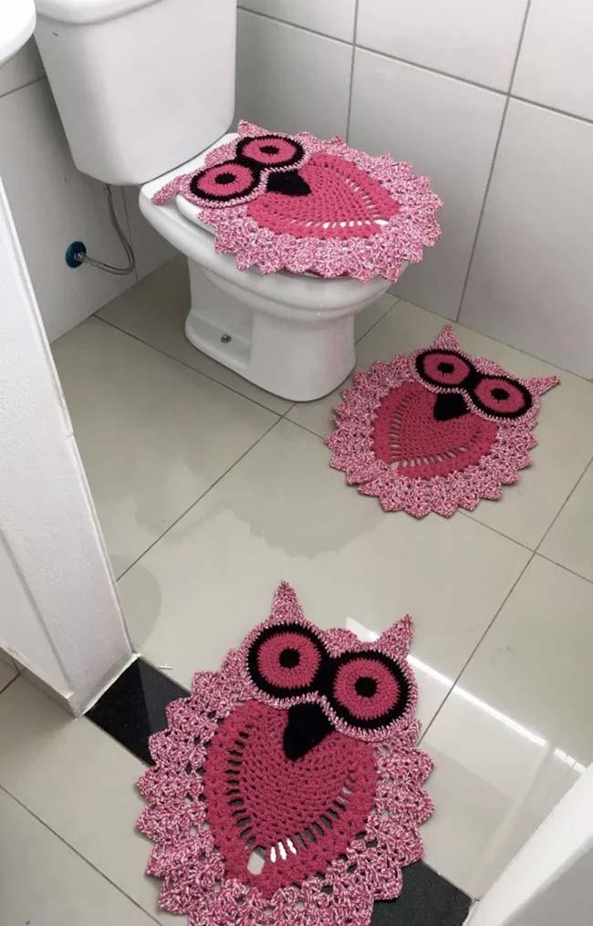 Banheiro com corujinhas rosas