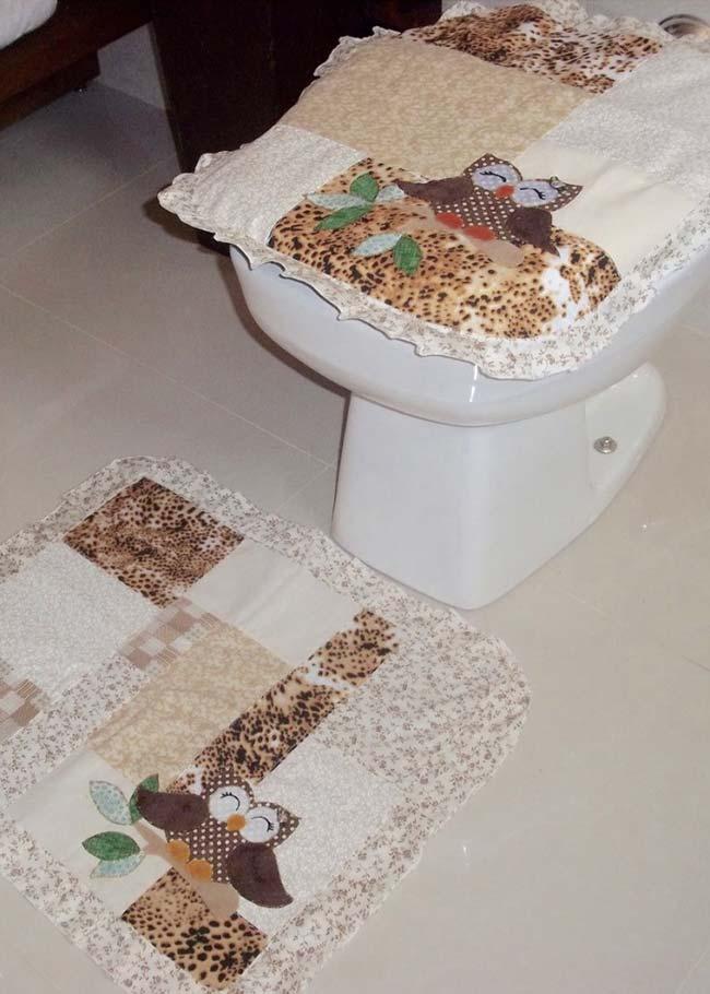Conjunto de duas peças de jogo de banheiro coruja