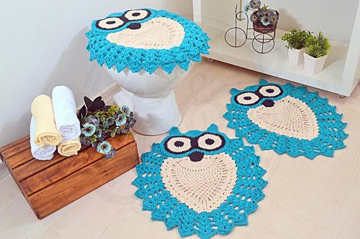 Jogo de banheiro coruja azul vibrante