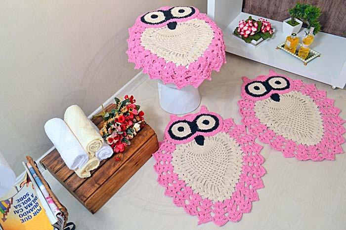 jogo de banheiro coruja cor de rosa