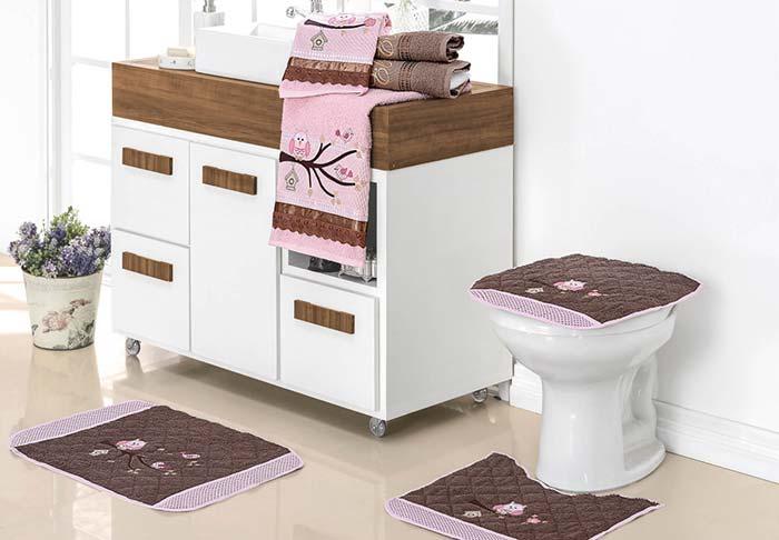 Jogo de banheiro coruja rosa e marrom