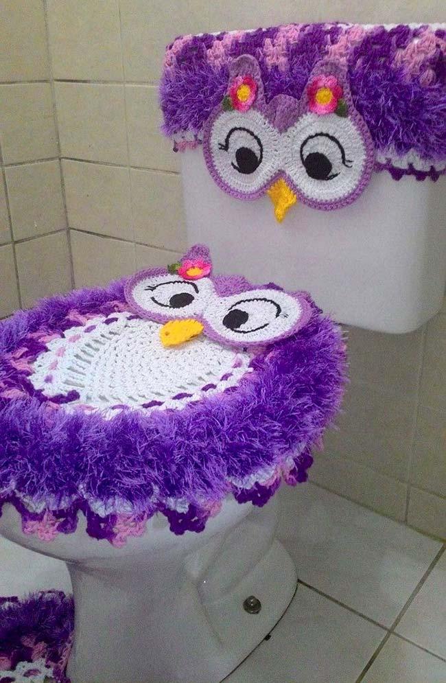 Jogo de banheiro coruja roxo