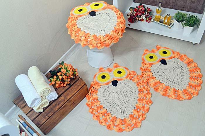 Jogo de banheiro coruja laranja