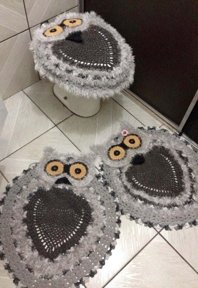 Jogo de banheiro com corujinhas cinza e preta