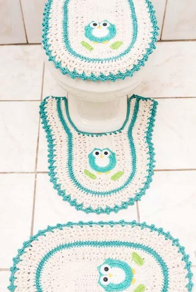 Jogo de banheiro com corujinhas em crochê