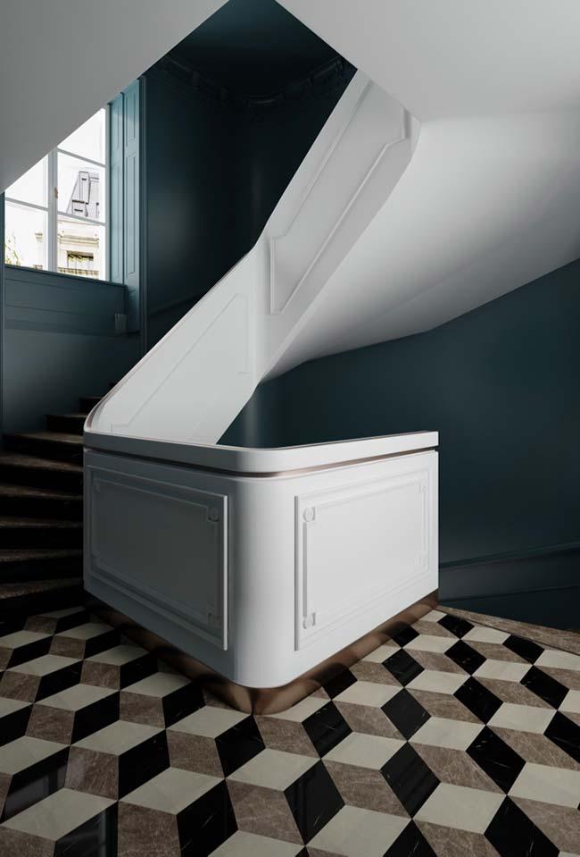Escada com design moderno e boiserie