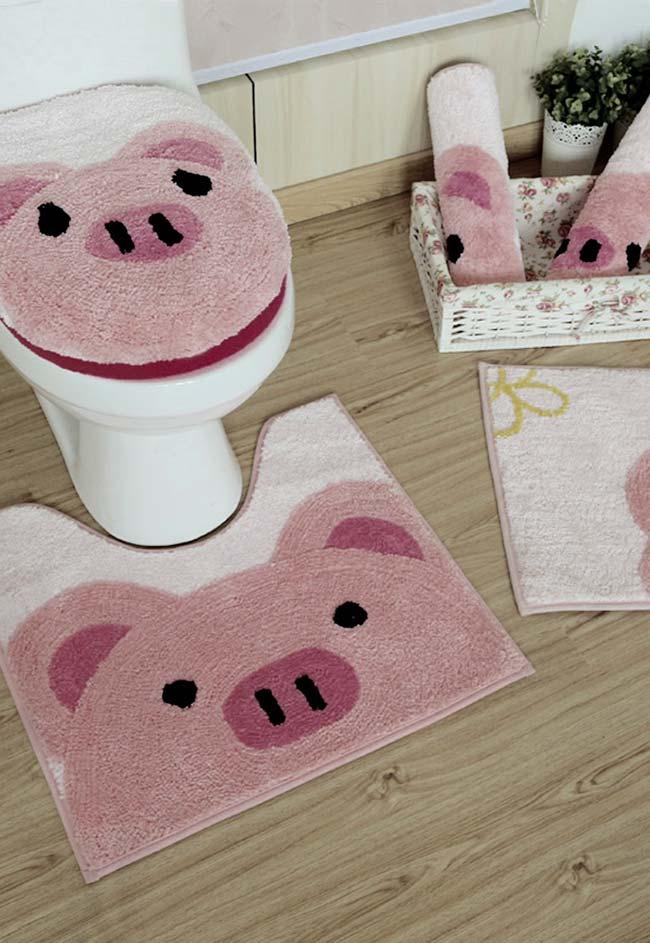 Jogo de banheiro com estampa de porquinho