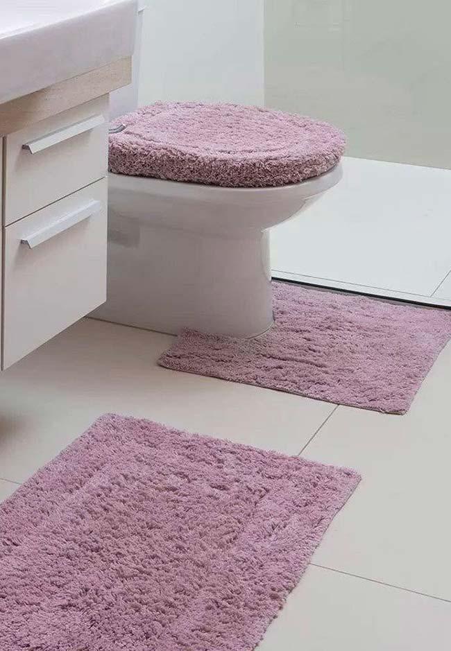 Jogo de banheiro lilás suave
