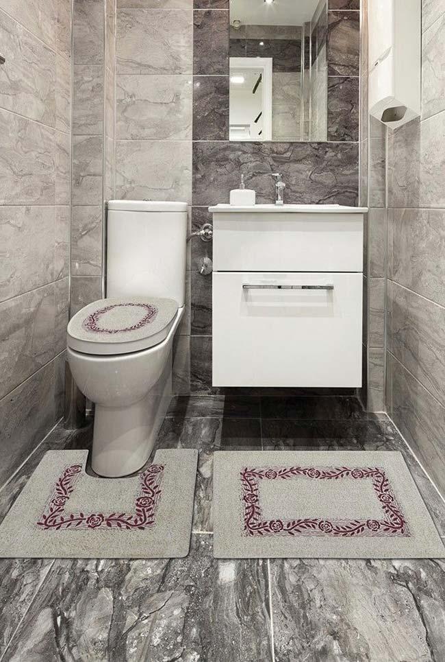 Jogo de banheiro cinza