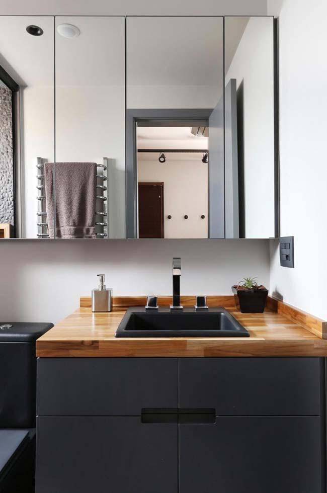 Bancada de madeira maciça para o banheiro moderno