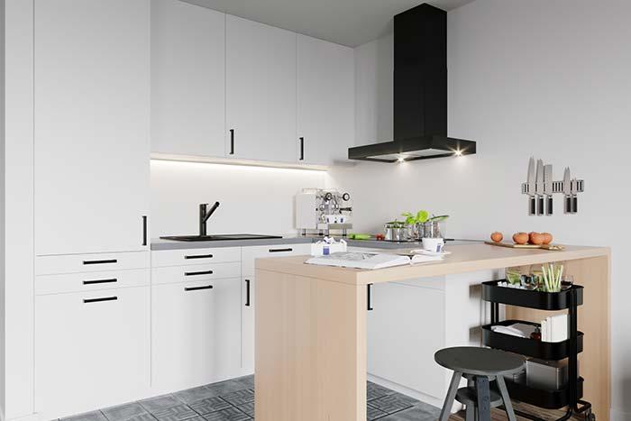 Bancada de madeira na cozinha minimalista