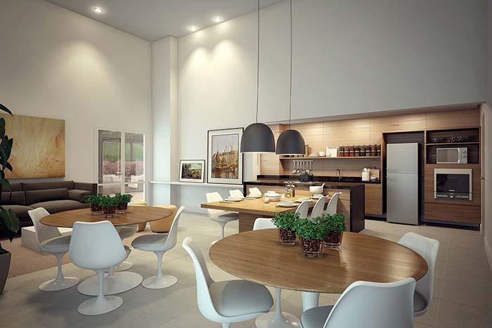Espaço gourmet integrado à sala de estar