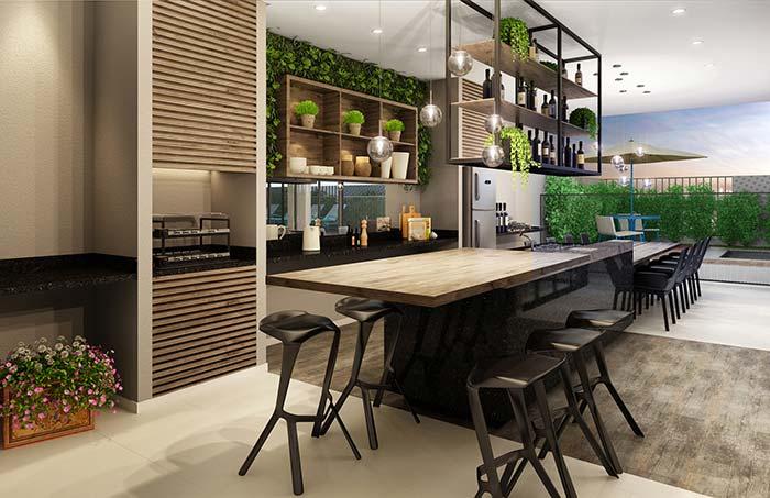 Espaço gourmet amplo e integrado à área externa