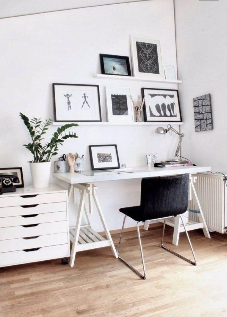 A decoração clean e moderna desse home office ganhou um toque de vida e natureza com a presença da zamioculca