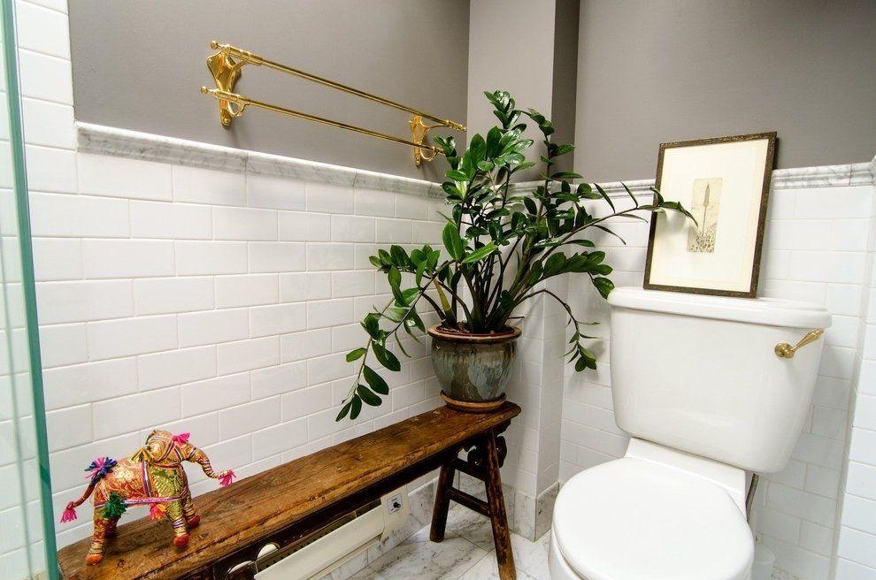 Vaso de zamioculca para complementar a decoração do banheiro
