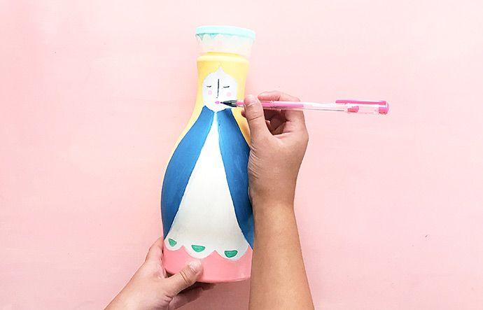 Como pintar garrafa pet: passo 10