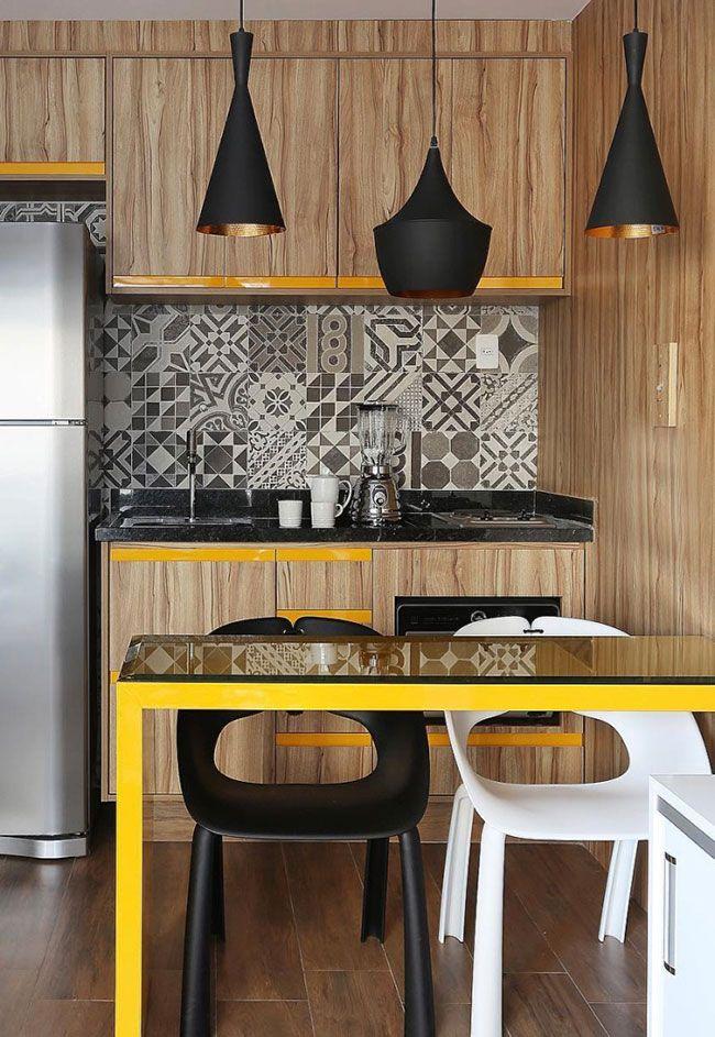 Preto e amarelo: uma união de modernidade na cozinha