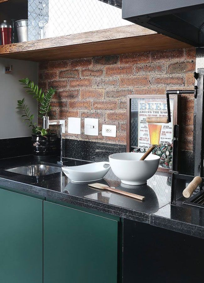 Área / espaço gourmet com granito preto São Gabriel