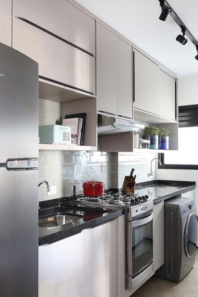 Cozinha e área de serviço com Granito Preto São Gabriel
