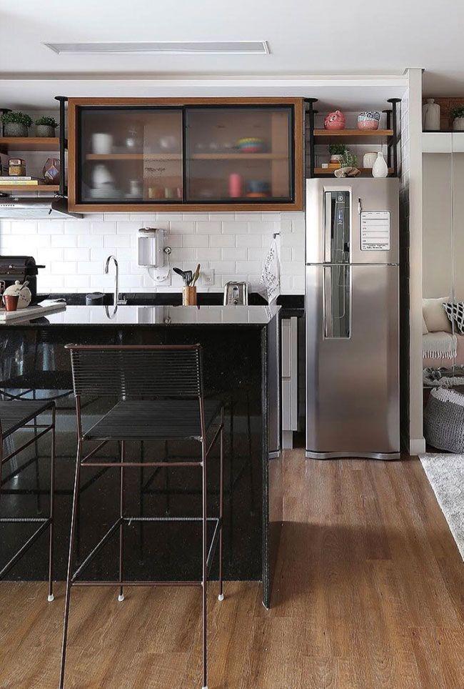 Cozinha americana com Granito Preto São Gabriel