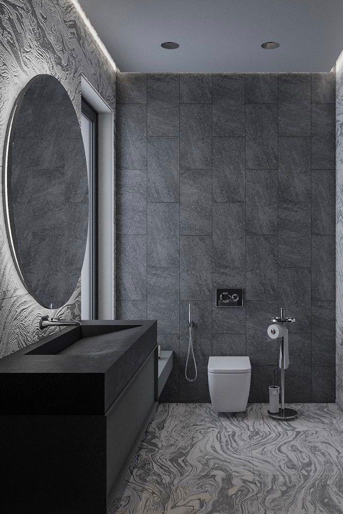 Banheiro moderno, cuba esculpida com granito preto