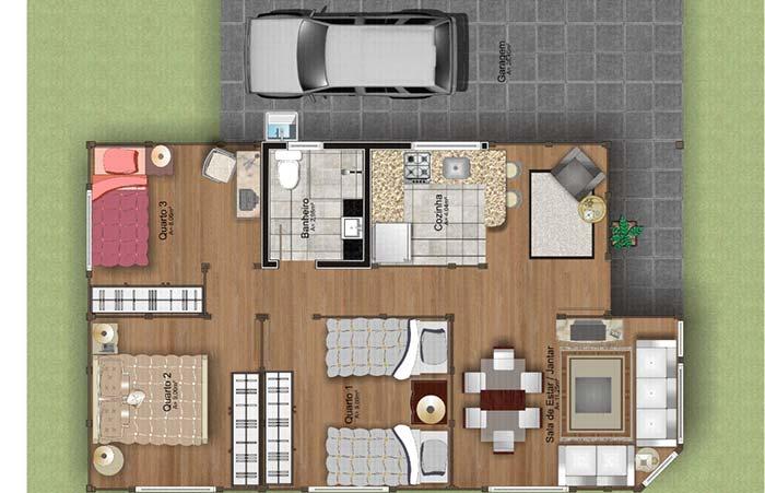 Planta de casa simples com três quartos e sala com cozinha integrada