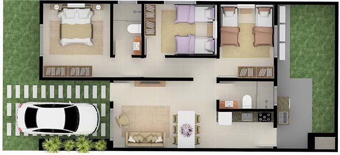 Casa pequena com 3 quartos bem planejada