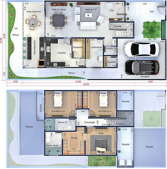 Planta de casa com 3 quartos e dois pavimentos