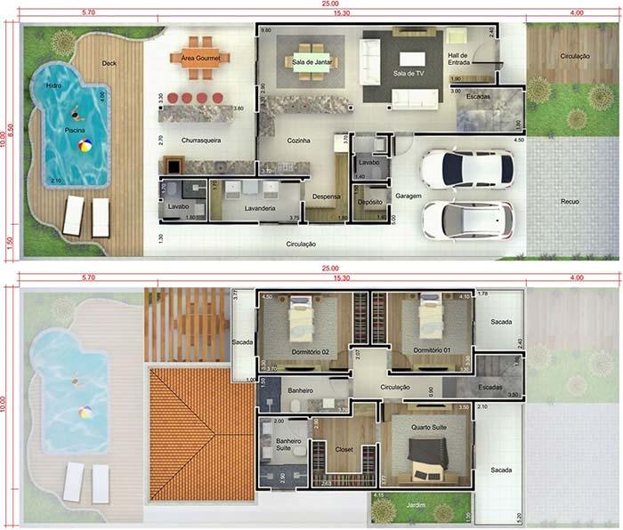Planta de casa sobrado com 3 quartos e piscina