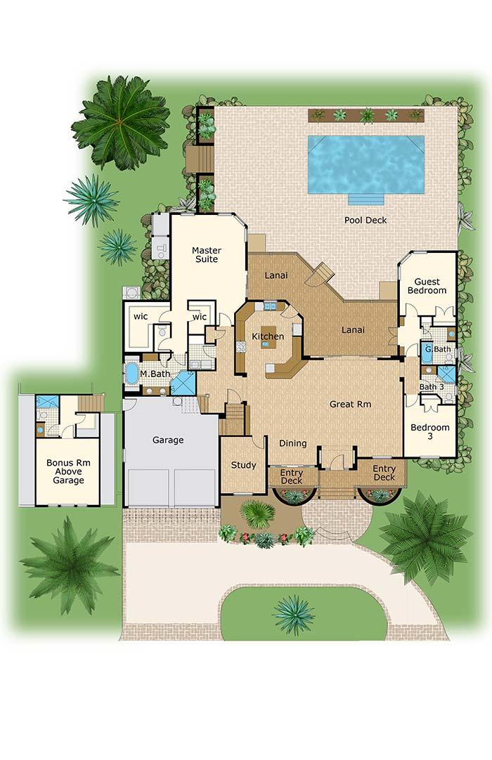 Planta de casa ampla com três quartos e cozinha americana