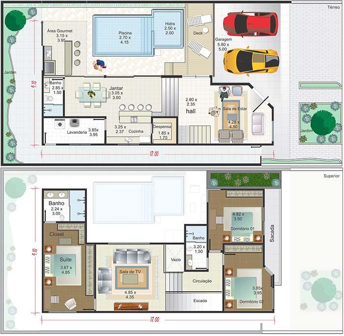 Planta de casa com dois pavimentos, três quartos, área gourmet e garagem