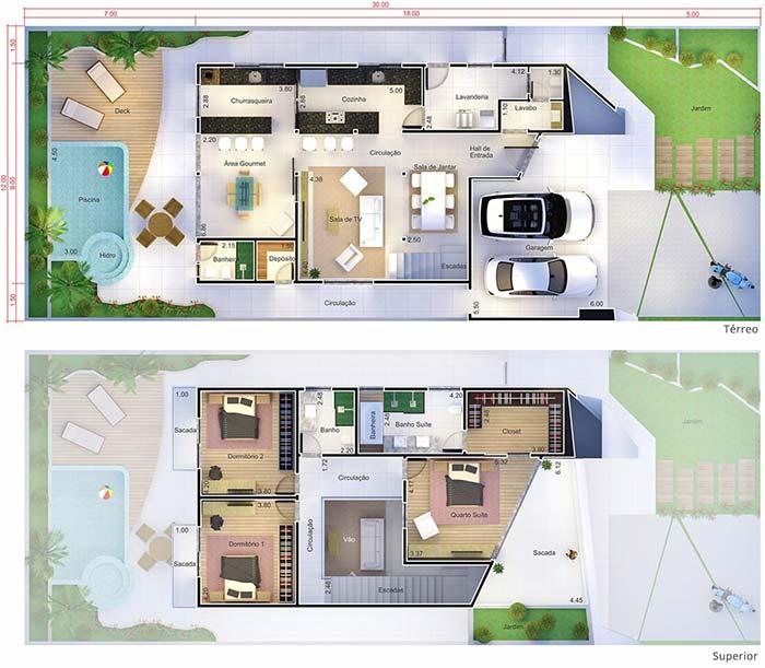 Plantas de casas com 3 quartos: sacada ampla para o quarto do casal