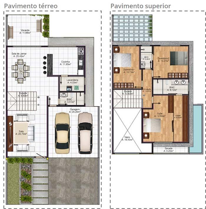 Planta de casa com 3 quartos e pavimento térreo com ambientes integrados