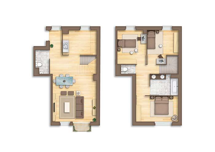 Planta de casa com dois pavimentos: três quartos, dois lavabos e apenas um banheiro